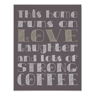 Amor y poster fuerte del café