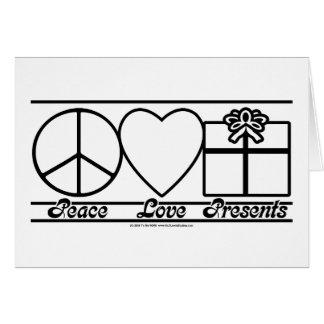 Amor y presentes de la paz tarjeton
