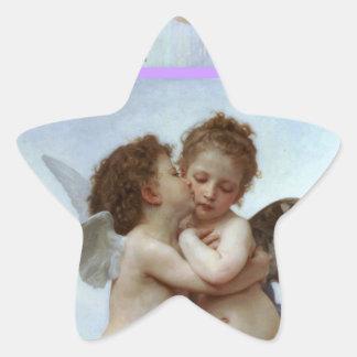 Amor y psique como estrella del banquete de boda pegatina en forma de estrella