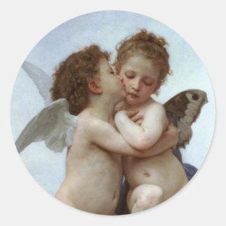 Amor y psique como los niños /Angels primero se Pegatina Redonda