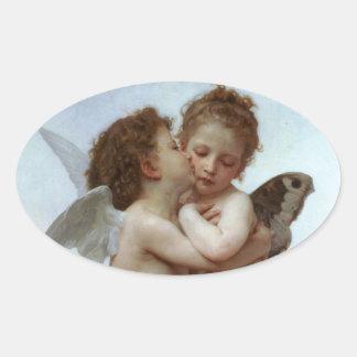 Amor y psique como los niños /Angels primero se Pegatina Ovalada