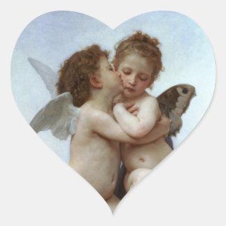 Amor y psique como los niños /Angels primero se Pegatina En Forma De Corazón