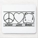 Amor y pulpos de la paz tapetes de ratón