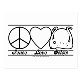 Amor y pulpos de la paz tarjetas postales