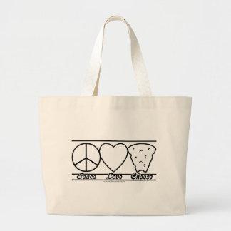 Amor y queso de la paz bolsa de tela grande