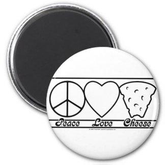 Amor y queso de la paz imán redondo 5 cm