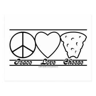 Amor y queso de la paz tarjetas postales