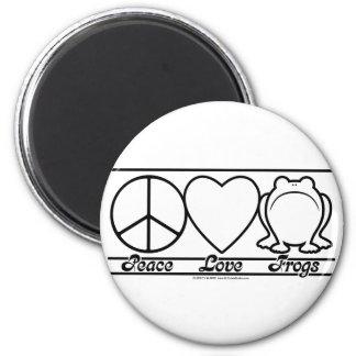 Amor y ranas de la paz imán redondo 5 cm