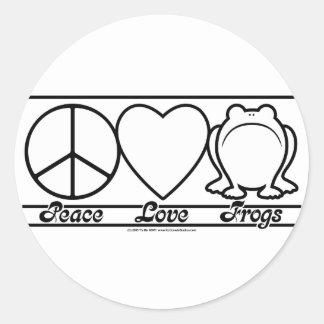 Amor y ranas de la paz pegatina redonda