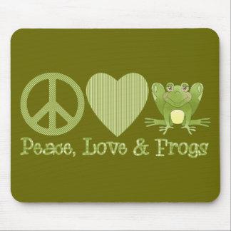 Amor y ranas de la paz tapetes de ratones