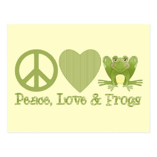 Amor y ranas de la paz tarjetas postales