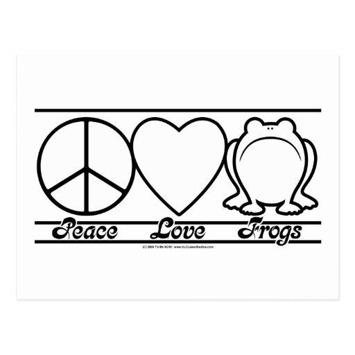 Amor y ranas de la paz tarjeta postal