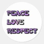 Amor y respecto de la paz etiquetas