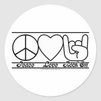 Amor y RockOn de la paz Pegatina Redonda
