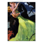 Amor y romance, beso romántico del vintage felicitación