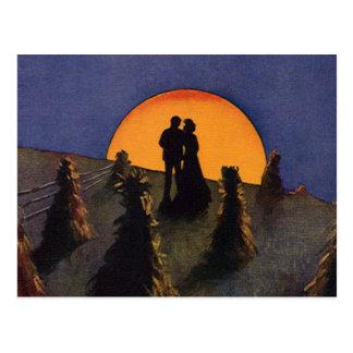 Amor y romance, claro de luna del vintage de la co postal