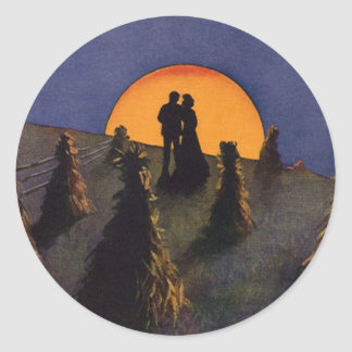 Amor y romance, claro de luna del vintage de la pegatina redonda