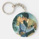 Amor y romance, danza del vintage del navidad llavero redondo tipo chapa