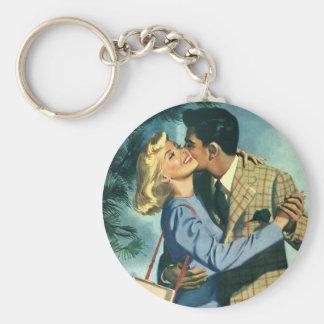 Amor y romance, danza del vintage del navidad llavero redondo tipo pin