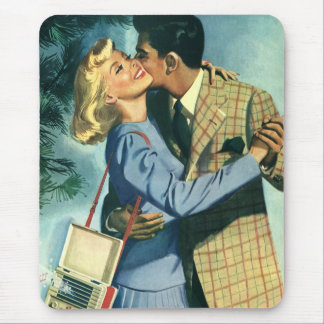 Amor y romance danza del vintage del navidad tapete de ratón