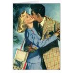 Amor y romance, danza del vintage del navidad tarjeta