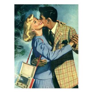 Amor y romance, danza del vintage del navidad postal