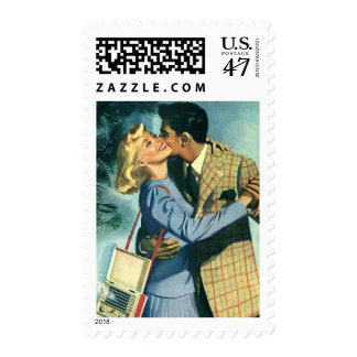 Amor y romance, danza del vintage del navidad timbre postal