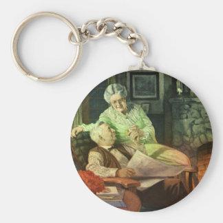 Amor y romance del vintage; Abuelos románticos Llavero Redondo Tipo Pin