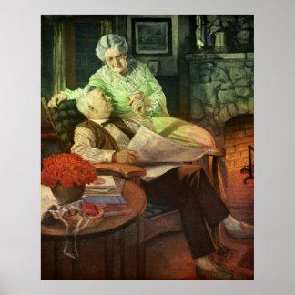 Amor y romance del vintage; Abuelos románticos Impresiones