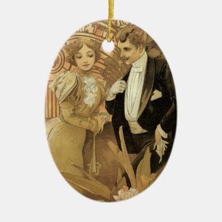 Amor y romance, ligón del Victorian del vintage Adorno Ovalado De Cerámica
