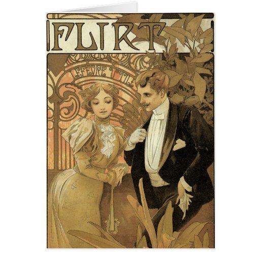 Amor y romance, ligón del Victorian del vintage Tarjeta De Felicitación
