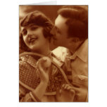 Amor y romance, par del vintage del tenis de los d felicitación