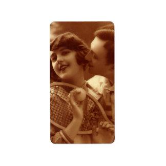 Amor y romance, par del vintage del tenis de los etiqueta de dirección