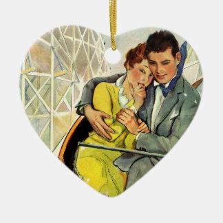 Amor y romance, paseo del vintage de la montaña adorno de cerámica en forma de corazón
