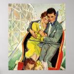 Amor y romance, paseo del vintage de la montaña póster
