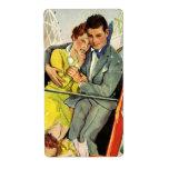 Amor y romance, paseo del vintage de la montaña ru etiquetas de envío