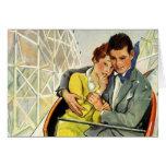 Amor y romance, paseo del vintage de la montaña tarjeta de felicitación