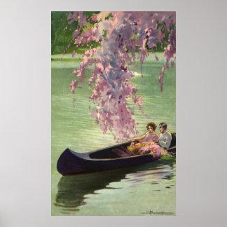 Amor y romance paseo romántico del vintage de la posters