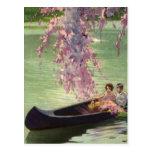 Amor y romance, paseo romántico del vintage de la  tarjeta postal
