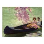 Amor y romance, paseo romántico del vintage de la tarjetas postales