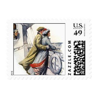 Amor y romance, recienes casados del vintage en el timbres postales