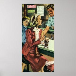 Amor y romance, señora del vintage en la tienda de póster