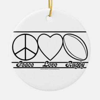 Amor y rugbi de la paz ornamento para reyes magos
