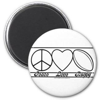 Amor y rugbi de la paz imán