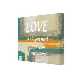 Amor y su cosmetologist impresión en lienzo estirada