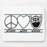 Amor y Tacos de la paz Alfombrilla De Ratón