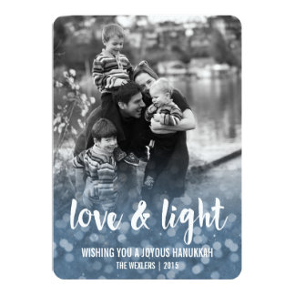 """Amor y tarjeta ligera de la foto de Bokeh Jánuca Invitación 5"""" X 7"""""""