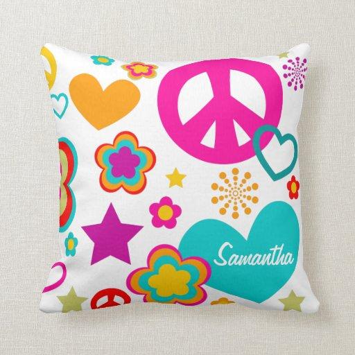 Amor y todo de la paz femeninos cojín decorativo