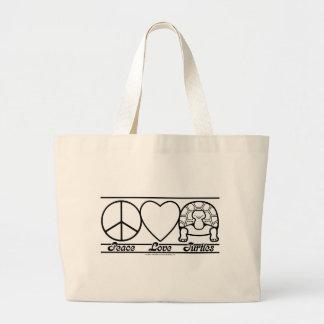 Amor y tortugas de la paz bolsa tela grande
