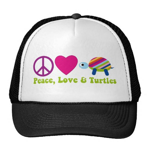 Amor y tortugas de la paz gorra